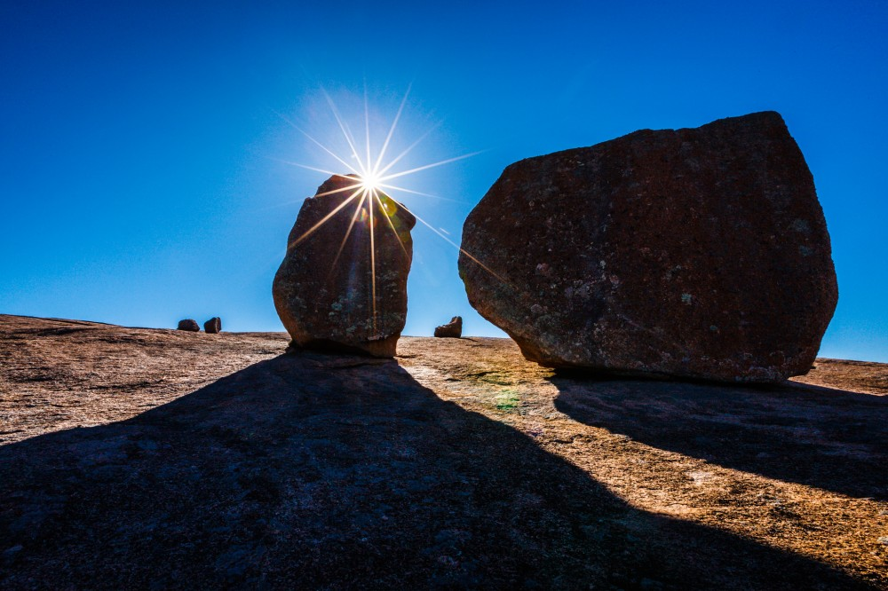 Backlit rocks at Enchanted Rock
