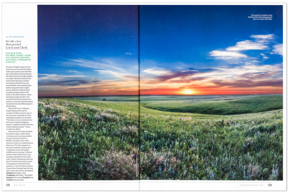Double page spread in Backpacker Magazine of Tallgrass Prairie National Preserve, Kansas, USA.