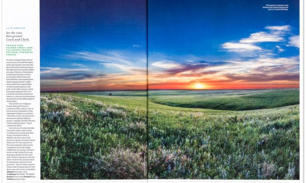 Double Page Spread in Backpacker Magazine from Tallgrass Prairie