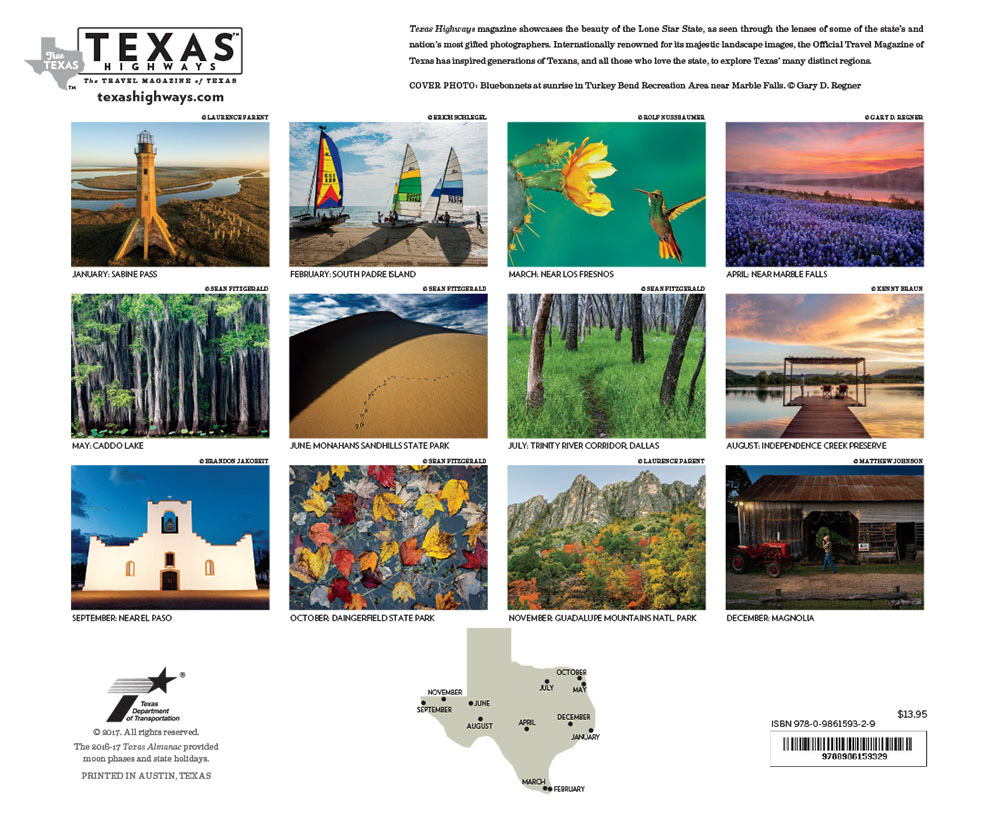 Four images in Texas Highways 2018 Calendar